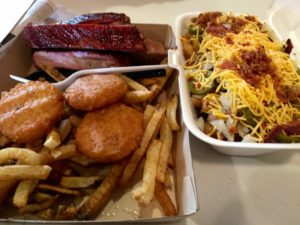 Ribs, Hot Water Cornbread, & Swamp Fries