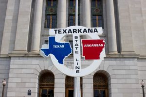 Famous Texas/Arkansas boundary sign