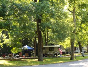 A beautiful, shaded site at John F Kennedy Campground