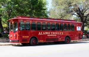 One of the many trolleys looping around the city