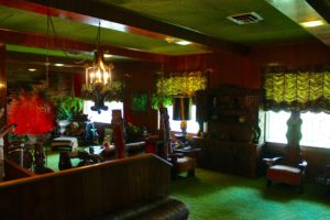 The Jungle Room- Yes, that's green shag carpet on the walls and ceiling!